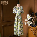 Dress Summer 2021 Green yellow S M L XL Mid length dress 35-39 years old Four inches / 4 inches More than 95% polyester fiber Polyester 100%