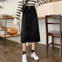 skirt Autumn 2020 S,M,L black Mid length dress commute High waist A-line skirt Solid color Type A 18-24 years old 30% and below other other Korean version