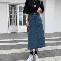 skirt Autumn 2020 S,M,L,XL blue Mid length dress commute High waist Denim skirt Solid color Type H 18-24 years old B70B6007 30% and below other other Korean version