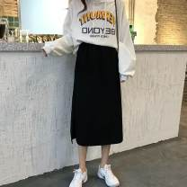 skirt Summer 2020 S, M black Mid length dress commute High waist A-line skirt Solid color Type A 18-24 years old BD0A6007 30% and below other other Korean version