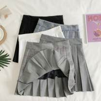 skirt Autumn 2020 S,M,L Gray, white, black, gray blue grid, gray red grid Short skirt Sweet High waist A-line skirt lattice Type A 18-24 years old 30% and below other other college