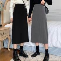 skirt Autumn 2020 S,M,L Gray, black longuette commute High waist A-line skirt Solid color Type A 18-24 years old 1F046007 30% and below other other Korean version