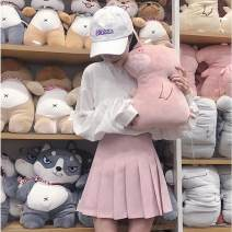 skirt Summer 2020 S,M,L White, gray, black, dark blue, pink Short skirt commute High waist Pleated skirt Solid color Type A 18-24 years old 30% and below other other Korean version