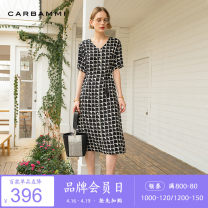 Dress Summer 2020 black S M L XL Mid length dress singleton  Short sleeve commute V-neck High waist lattice Socket other routine Others 30-34 years old Type A Carbammi / Cabernet lady More than 95% polyester fiber Polyester 100%