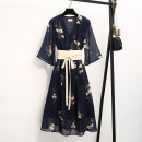 Women's large Autumn of 2019 Navy Blue XL 2XL 3XL 4XL 5XL L Dress singleton  commute Self cultivation thin Conjoined three quarter sleeve Korean version Three dimensional cutting Lemon shop 30-34 years old belt Medium length Other 100%