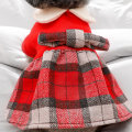 Pet clothing / raincoat currency skirt XS (about 2.5-3.5 kg) s (about 4-5.5 kg) m (about 6-8 kg) l (about 9-11 kg) XL (about 11-14 kg) Le Shuang pet princess Red Plaid baby collar woollen dress
