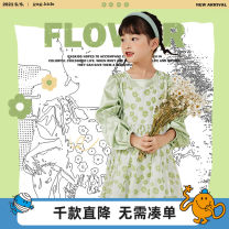 Dress Green a green B female gxg kids 110/56 120/60 130/64 140/64 150/68 Polyester 96% polyurethane elastic fiber (spandex) 4% spring and autumn other Splicing style other Spring 2021