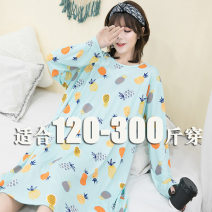 Pajamas / housewear set female Other / other XL,2XL,3XL,4XL Green pineapple, pink cat Polyester (polyester) Long sleeves motion pajamas autumn routine Crew neck other Socket one-piece garment 61% (inclusive) - 80% (inclusive) polyester fiber printing longuette