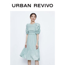 Dress Autumn 2020 White green lilac light yellow XS S M L XL Middle-skirt Long sleeves Crew neck middle-waisted bishop sleeve 25-29 years old UR WG30R7AE2000 51% (inclusive) - 70% (inclusive) polyester fiber Polyester 57% viscose 43% Same model in shopping mall (sold online and offline)