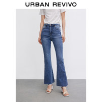 Jeans Summer 2021 blue XXS S XS L M trousers Natural waist Straight pants 25-29 years old UR Cotton 90% polyester 8% polyurethane elastic fiber (spandex) 2% Same model in shopping mall (sold online and offline)
