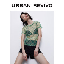 T-shirt Light green grid S XL L M Summer 2020 Short sleeve Crew neck Regular polyester fiber 96% and above 25-29 years old UR YV14S4MN2005 Polyester 100% Same model in shopping mall (sold online and offline)
