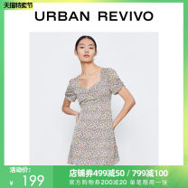 Dress Summer 2021 Yellow print Brown print S XL L M Short skirt Short sleeve other middle-waisted routine 25-29 years old UR YL11R7AN2004 More than 95% polyester fiber Polyester 100% Same model in shopping mall (sold online and offline)