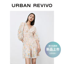 Dress Summer 2021 Yellow printing XS S M L Short skirt three quarter sleeve other middle-waisted other other 25-29 years old UR YL08R7EN2001 More than 95% polyester fiber Polyester 100% Same model in shopping mall (sold online and offline)