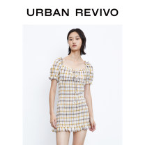 Dress Autumn 2020 Yellow check S XL L M Short skirt Short sleeve square neck middle-waisted other 25-29 years old UR YL33S7DE2000 51% (inclusive) - 70% (inclusive) polyester fiber Polyester 67% cotton 28% viscose 4% others 1% Same model in shopping mall (sold online and offline)