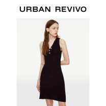 Dress Autumn of 2019 It's black S XL L M Short skirt singleton  Sleeveless V-neck middle-waisted Solid color Socket 25-29 years old UR YU28S9FE2001 30% and below nylon Viscose (viscose) 80% polyamide (PA) 20% Same model in shopping mall (sold online and offline)