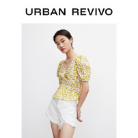 shirt Yellow printing S XL L M Summer 2021 cotton 96% and above Short sleeve Original design Regular other other other 25-29 years old UR YL11S2CN2005 Cotton 100% Same model in shopping mall (sold online and offline)