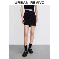 skirt Summer 2021 XXS S XS L M It's black Short skirt Natural waist 25-29 years old 71% (inclusive) - 80% (inclusive) UR cotton Same model in shopping mall (sold online and offline)