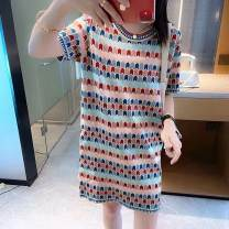Dress Summer 2021 Bright silk stripe knitted dress S,M,L Middle-skirt singleton  Short sleeve commute Crew neck middle-waisted stripe Socket other routine Others 18-24 years old Type H Other / other zy1012 More than 95% brocade cotton