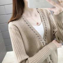 Wool knitwear Spring 2020 S M L XL Khaki Beige brick red blue black Long sleeves singleton  Cardigan other More than 95% have cash less than that is registered in the accounts routine commute Self cultivation V-neck routine Color matching Single breasted Korean version GLF813989 25-29 years old