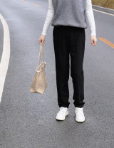 Suit pants / suit pants S, M black Spring 2021 Straight cylinder middle-waisted trousers routine Self made pictures polyester fiber Korean version