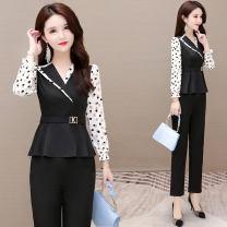 Fashion suit Spring 2021 S M L XL XXL Black (sz-98101 black wave point suit) 25-35 years old Donna Zilan / Donna Zilan SZ02-98101 91% (inclusive) - 95% (inclusive) polyester fiber Polyester 95% polyurethane elastic fiber (spandex) 5% Pure e-commerce (online only)