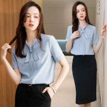 shirt 6658 white shirt 6658 grey shirt 6658 white shirt + 1066 black skirt 6658 grey shirt + 1066 black skirt S M L XL XXL XXXL 4XL Summer 2021 polyester fiber 71% (inclusive) - 80% (inclusive) Short sleeve commute Regular V-neck Socket routine Solid color 25-29 years old Self cultivation A15-6658