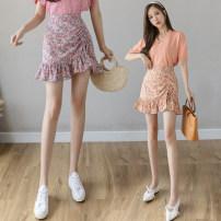 skirt Summer 2021 S M L XL Purple orange Short skirt commute High waist skirt Broken flowers Type A 25-29 years old LK211-4051 More than 95% LK2003 other Korean version Other 100% Pure e-commerce (online only)