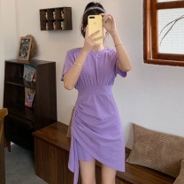 Dress Summer 2021 Purple gray black S M Short skirt singleton  Short sleeve commute Crew neck High waist Solid color Socket routine 25-29 years old LK2003 Korean version LK211-4978 81% (inclusive) - 90% (inclusive) polyester fiber Polyester 90% other 10% Pure e-commerce (online only)