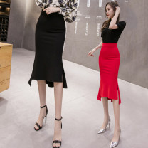 skirt Spring 2020 S M L XL 2XL Black red Mid length dress commute High waist skirt Solid color Type H 25-29 years old LK193-8641 LK2003 Lotus leaf edge Korean version Pure e-commerce (online only)