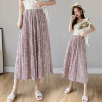 skirt Summer 2021 M L Yellow purple apricot Mid length dress commute High waist Umbrella skirt Decor Type A 25-29 years old LK211-3958 More than 95% LK2003 other Pleated printing Korean version Other 100% Pure e-commerce (online only)