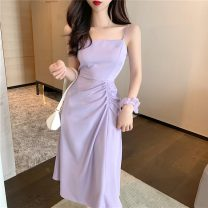 Dress Summer 2021 Average size Mid length dress singleton  Sleeveless commute Elastic waist Solid color camisole 25-29 years old LK2003 Korean version 81% (inclusive) - 90% (inclusive) polyester fiber Polyester 90% other 10% Pure e-commerce (online only)