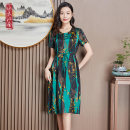 Dress Spring 2021 Green yellow red L XL 2XL 3XL 4XL Mid length dress singleton  Short sleeve commute Crew neck middle-waisted Decor Socket A-line skirt routine 40-49 years old Type A Shuimu Jiangnan Korean version printing SMS003 91% (inclusive) - 95% (inclusive) Silk and satin silk