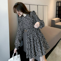 Dress Spring 2021 black S M L Short skirt singleton  Long sleeves commute Crew neck High waist Broken flowers Socket A-line skirt routine Others 25-29 years old Type A Manlin Korean version Ruffle pleat stitching thread wave printing 1560_1 More than 95% Chiffon other Other 100%