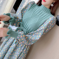 Dress Spring 2021 Red green pink knitting S M L XL Mid length dress Fake two pieces Long sleeves Sweet stand collar High waist Broken flowers Socket A-line skirt bishop sleeve Others 25-29 years old Type A Manlin More than 95% knitting other Other 100% Mori Pure e-commerce (online only)