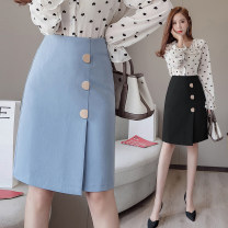 skirt Spring 2021 S M L XL Blue black Middle-skirt commute High waist A-line skirt Solid color Type H 25-29 years old More than 95% Manlin other 3D stitching of fold asymmetric three dimensional decorative button Korean version Other 100% Pure e-commerce (online only)