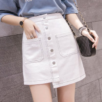 skirt Spring 2021 S M L XL White, blue, black Short skirt commute High waist A-line skirt Solid color Type A 25-29 years old 6876A More than 95% Manlin other Three dimensional decorative asymmetry of button and zipper stitching Korean version Other 100% Pure e-commerce (online only)