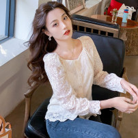 shirt Apricot S M L XL 2XL Spring 2021 other 96% and above three quarter sleeve commute Regular Crew neck routine Solid color 25-29 years old Straight cylinder Manlin Korean version Three dimensional decorative open line decorative button 3D lace Other 100% Pure e-commerce (online only)