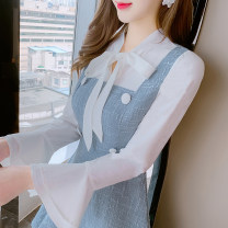 Dress Spring 2021 Picture color S M L Short skirt singleton  Long sleeves commute V-neck High waist Solid color Socket Ruffle Skirt routine Others 25-29 years old Type A Manlin Korean version Three dimensional decorative wave resin fixation with bowknot, pleat and lace More than 95% other Other 100%