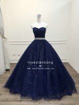 Dress / evening wear Wedding, adulthood, party, company annual meeting, performance S,M,L Navy Blue Simplicity longuette middle-waisted Summer 2020 Fluffy skirt Chest type Bandage Netting 26-35 years old Sleeveless