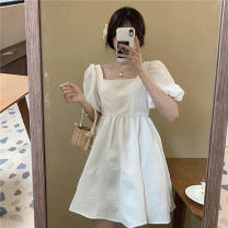 Dress Summer 2021 white XL,L,M,S Short skirt singleton  Short sleeve commute square neck High waist Solid color Socket Princess Dress puff sleeve Others 18-24 years old Type A Other / other Korean version 71% (inclusive) - 80% (inclusive) other other