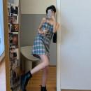 Dress Spring 2020 S, M Short skirt singleton  Sleeveless commute High waist lattice Socket camisole 18-24 years old Type H Korean version 71% (inclusive) - 80% (inclusive) polyester fiber
