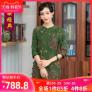 cheongsam Summer of 2019 S M L XL XXL XXXL green Short sleeve long cheongsam Retro High slit daily Oblique lapel Decor Over 35 years old Piping Chinese Classics silk Mulberry silk 100% Pure e-commerce (online only) 96% and above