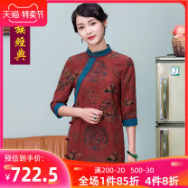 cheongsam Summer of 2019 S M L XL XXL XXXL Red 120 length red 130 length three quarter sleeve long cheongsam Retro High slit daily Oblique lapel Broken flowers Over 35 years old Piping An Xiao Chinese Classics silk Mulberry silk 100% Pure e-commerce (online only) 96% and above
