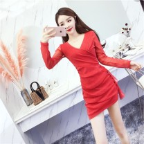Dress Autumn of 2018 XL,M,L,S Short skirt singleton  Long sleeves commute V-neck middle-waisted Solid color Socket routine Others 18-24 years old Korean version