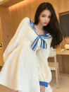 Dress Spring 2021 White, dark blue S,M,L Short skirt singleton  Long sleeves commute High waist 18-24 years old Korean version