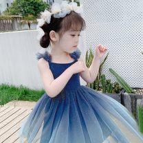 Dress Spring 2020 90cm,100cm,110cm,120cm,130cm,140cm longuette Solid color camisole Under 17 Other More than 95% organza  other