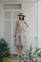 Dress Summer 2020 Picture color S,M,L longuette singleton  commute One word collar Loose waist zipper Big swing other camisole Type A Retro backless 1547# 31% (inclusive) - 50% (inclusive) brocade