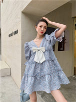 Dress Spring 2021 blue S,M,L,XL Middle-skirt singleton  Long sleeves commute Crew neck Loose waist Solid color zipper Pleated skirt 18-24 years old Type A Korean version 31% (inclusive) - 50% (inclusive)