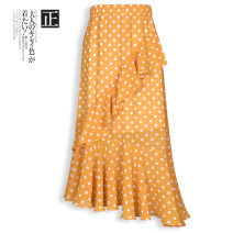 skirt Summer 2021 Yellow, black Mid length dress commute High waist Irregular Dot Type A 25-29 years old More than 95% Chiffon polyester fiber lady