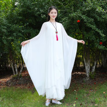 Dress Summer of 2018 White, gradient pink, white S,M,L,XL,2XL Mid length dress Two piece set Nine point sleeve commute Crew neck Elastic waist Solid color A button Ruffle Skirt Bat sleeve Others Type O qn literature More than 95% Chiffon Chloroprene
